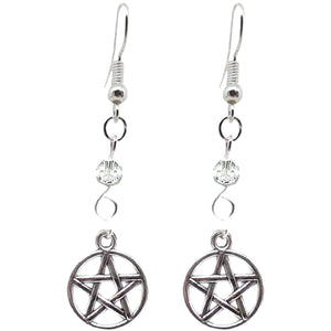Celtic Gothic Halloween Pagan Wicca Wiccan Pentacle Charm Beaded with Silver Plated Metal Ear Hook Dangle Earrings