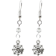 Load image into Gallery viewer, Animal Creepy Gothic Halloween Insect Spider Web Charm with Silver Plated Metal Ear Hook Dangle Earrings