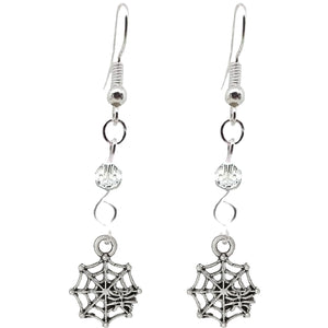 Animal Creepy Gothic Halloween Insect Spider Web Charm with Silver Plated Metal Ear Hook Dangle Earrings