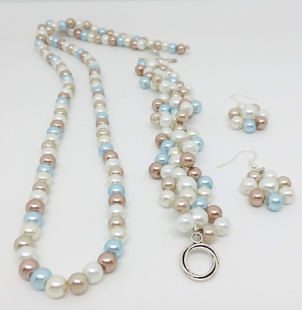 Handmade Glass Beaded Bracelet Earrings Necklace Jewelry Set Beige Blue Ivory White