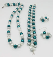 Load image into Gallery viewer, Handmade Glass Beaded Bracelet Earrings Necklace Jewelry Set Blue Gray Clear