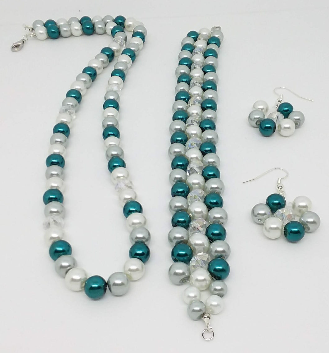 Handmade Glass Beaded Bracelet Earrings Necklace Jewelry Set Blue Gray Clear