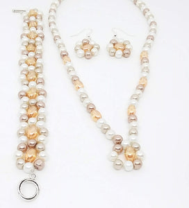 Handmade Glass Beaded Bracelet Earrings Necklace Jewelry Set Gold Beige White
