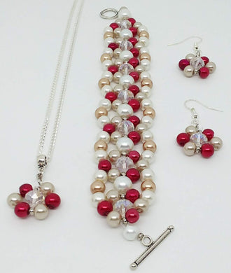 Handmade Glass Beaded Bracelet Earrings Necklace Jewelry Set Red Gold Clear