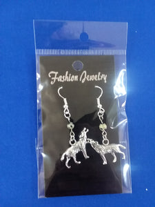 Wolf Earrings With Gemstone