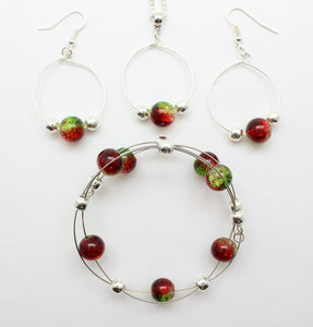 Jewelry Set XMAS-JWL-1014 Red Green Silver 10mm Beads on Wire - Free Shipping
