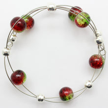 Load image into Gallery viewer, Jewelry Set XMAS-JWL-1014 Red Green Silver 10mm Beads on Wire - Free Shipping