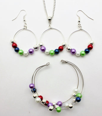 Jewelry Set JWL-SET-1005 Multi Color 6mm Beads on Wire - Free Shipping