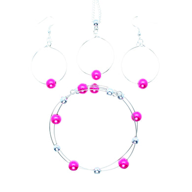 Jewelry Set JWL-SET-1001 Pink Silver 8mm Beads on Wire - Free Shipping