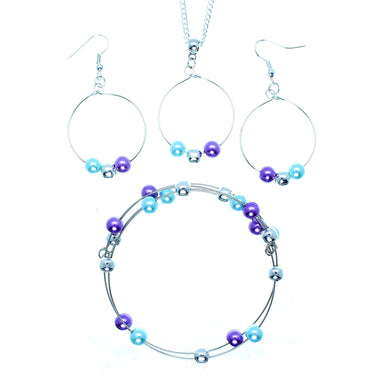 Jewelry Set JWL-SET-1003 Purple Blue Silver 6mm Beads on Wire - Free Shipping