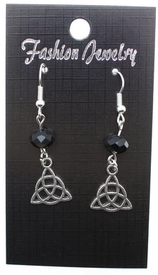 AVBeads Jewelry Charm Earrings Dangle Silver Hook Beaded Black Triquetra