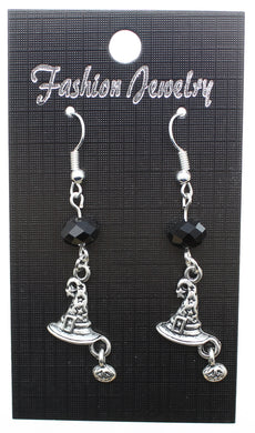AVBeads Jewelry Charm Earrings Dangle Silver Hook Beaded Black Witch Hat Pumpkin