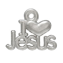 "Load image into Gallery viewer, AVBeads Cross ""I Love Jesus"" Message Charms Mini Silver 16mm x 13mm Metal Charms 4pcs"