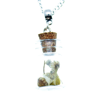 "Necklace 24"" Chain Glass Bottle Charm 22mm x 15mm with Chamomile Flowers"
