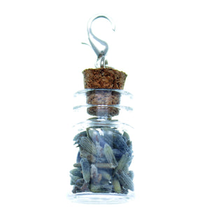 Clip-On Bottle Charms with Herbs Lavender Flowers