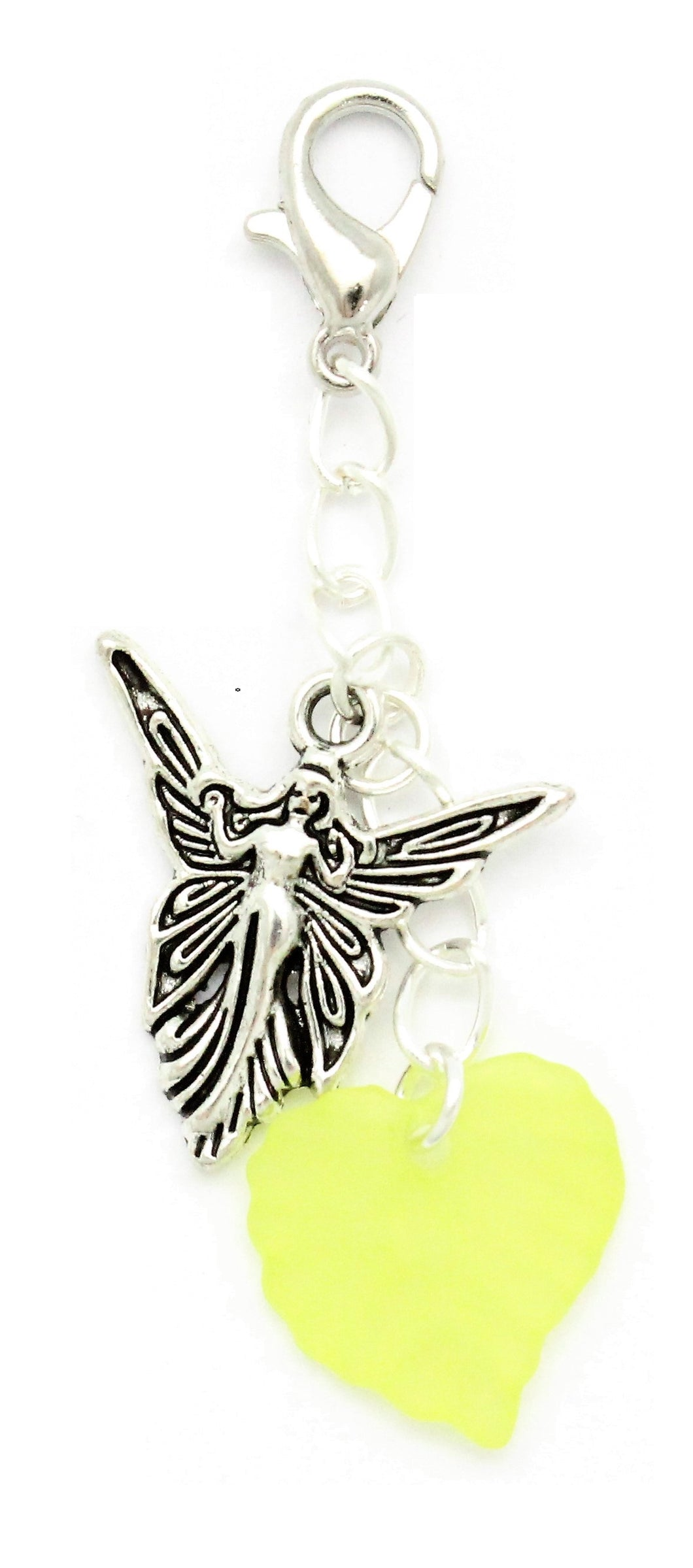 AVBeads Clip-On Charms Fairy and Leaf Charms Silver and Green JWL-CC-1001