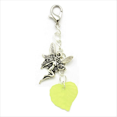 AVBeads Clip-On Charms Fairy and Leaf Charms Silver and Green JWL-CC-1002