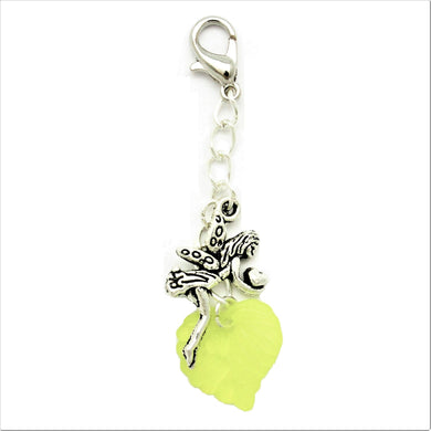 AVBeads Clip-On Charms Fairy and Leaf Charms Silver and Green JWL-CC-1003