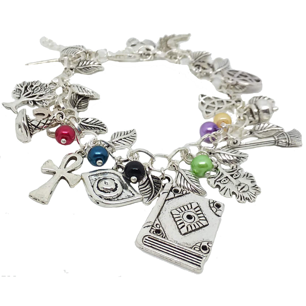 AVBeads Jewelry Wiccan Silver Chain Link Multicolor Glass Round Beaded Charm Bracelet 1001