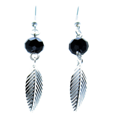 AVBeads Jewelry Charm Earrings Dangle Silver Hook Beaded Black Leaf