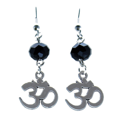 AVBeads Jewelry Charm Earrings Dangle Silver Hook Beaded Black Ohm Om Aum