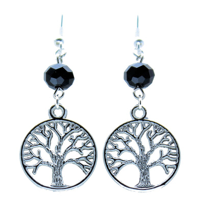 AVBeads Jewelry Charm Earrings Dangle Silver Hook Beaded Black Tree of Life