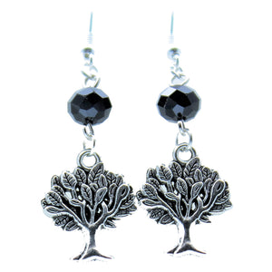 AVBeads Jewelry Charm Earrings Dangle Silver Hook Beaded Black Tree