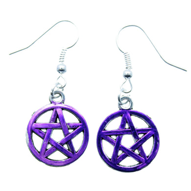 AVBeads Jewelry Charm Earrings Dangle Silver Hook Pentacle Purple