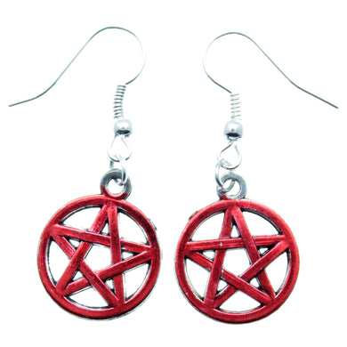 AVBeads Jewelry Charm Earrings Dangle Silver Hook Pentacle Red