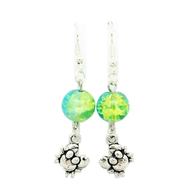 AVBeads Jewelry Charm Earrings Dangle Silver Hook Beaded Blue Green Crab