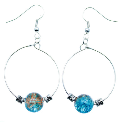 AVBeads Jewelry Hoop Earrings Dangle Silver Plated Hook Beaded Blue Brown