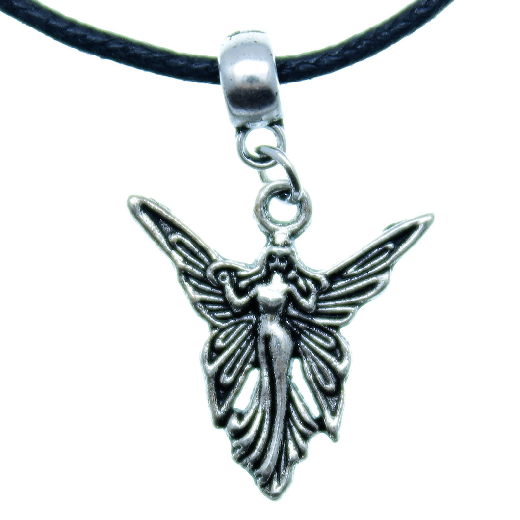 Charm Necklace Black Silver JWL-NLCB-CHM01612 Fairy with Bail