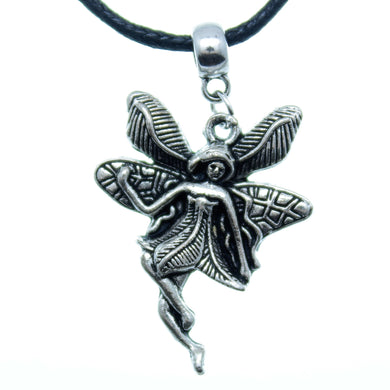 Charm Necklace Black Silver JWL-NLCB-CHM10019 Fairy on Bail