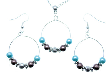 Jewelry Set JWL-SET-1008 Blue Brown Silver 6mm Beads on Wire