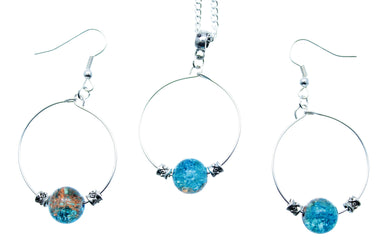 Jewelry Set JWL-SET-1009 Hoop Set Blue Brown Silver - Free Shipping