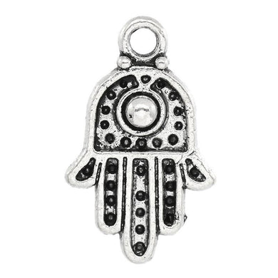 AVBeads Pagan Hamsa Charms Silver 20mm x 12mm Metal Charms 10pcs