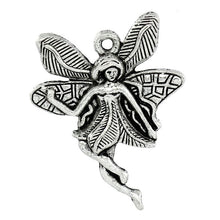 Load image into Gallery viewer, Charms Flower Fairy Silver 29x23mm 30pcs