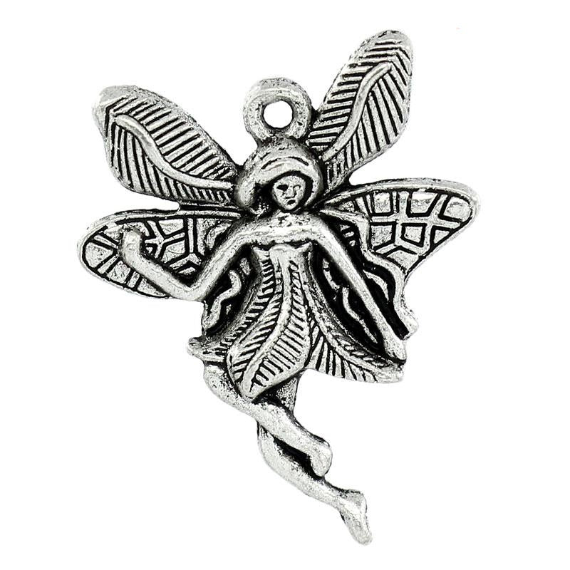 Charms Flower Fairy Silver 29x23mm 30pcs