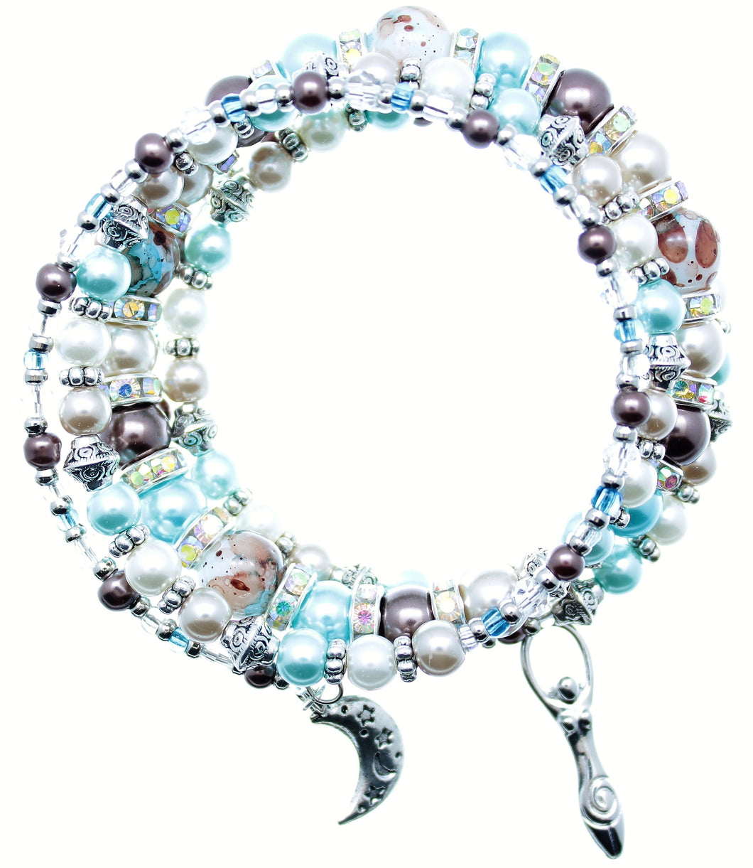 AVBeads Memory Wire Bracelet Beaded 5-Layer Wrap with Charms Moon Godd