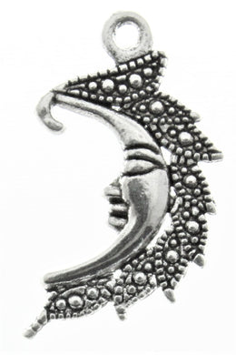AVBeads Celestial Moon Face Charms Silver 25mm x 15mm Metal Charms 4pcs