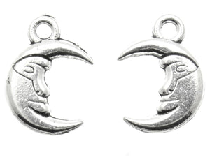 AVBeads Celestial Moon Smile Silver 16mm x 11mm Metal Charms 10pcs