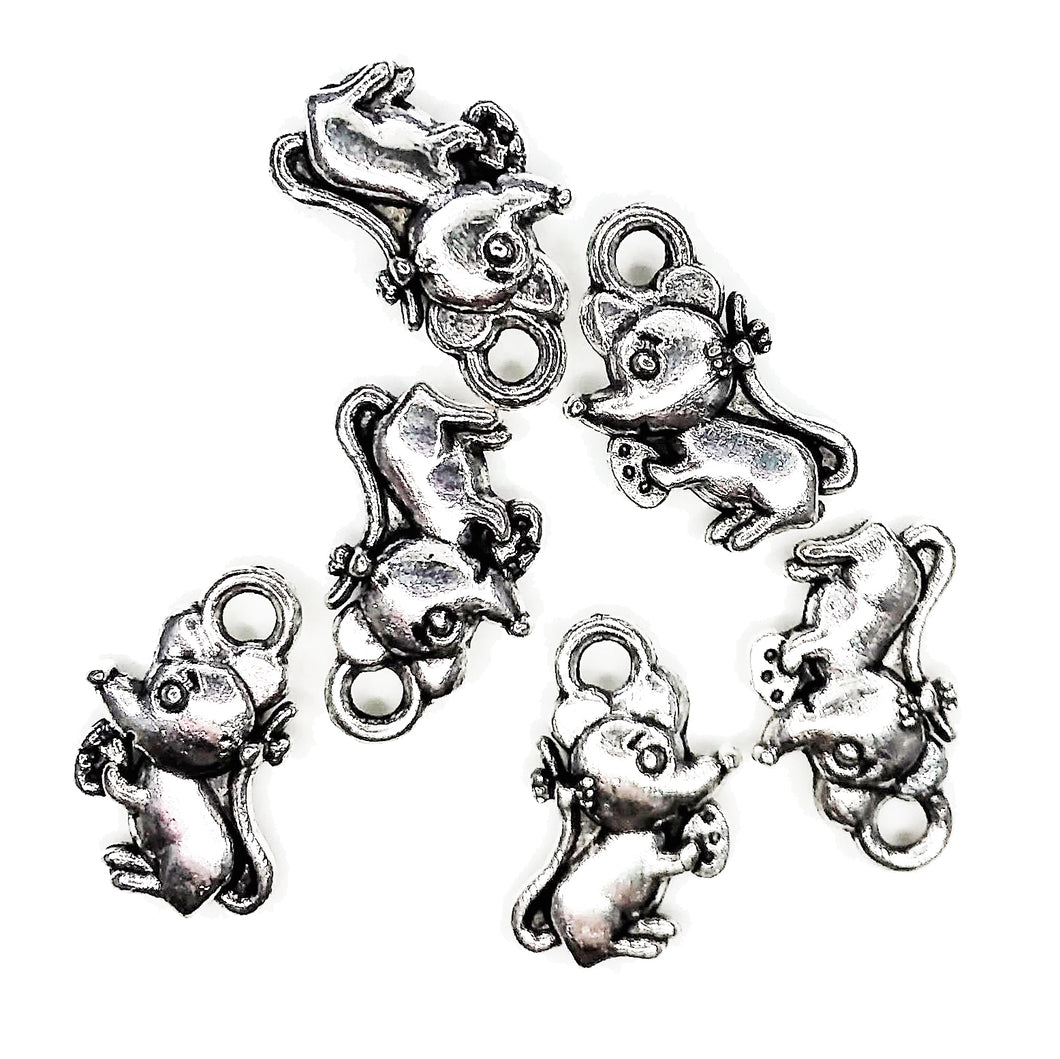 AVBeads Animal Charms Mouse Charms Silver 12mm x 7mm Metal Charms 10pcs