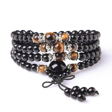 Mala Beads Bracelet Buddhist Mala Prayer Beads Buddha Blessing Necklace Obsidian Tiger Eye Beads