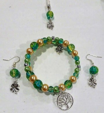 Handmade Glass Beaded Metal Charm Pendants with Silver Plated Earrings and Snake Chain Necklace Jewelry Set Green Gold Blue Crackle Clover Tree