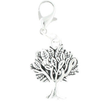 AVBeads Clip-On Charms Tree Charm 35mm x 15mm Silver JWLCC05574