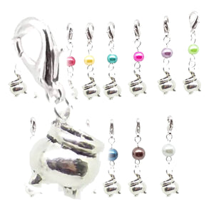 Halloween Pagan Wicca Wiccan Witch Cauldron Silver Bracelet Size Charm Clip with Silver Plated Metal Lobster Clasp Charms