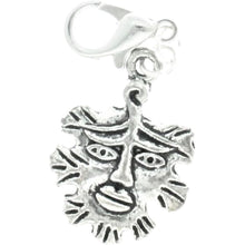 Load image into Gallery viewer, Celtic Pagan Wicca Wiccan God Greenman Pan Bracelet Size Charm Clip with Silver Plated Metal Lobster Clasp Charms