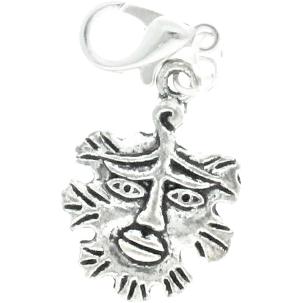 Celtic Pagan Wicca Wiccan God Greenman Pan Bracelet Size Charm Clip with Silver Plated Metal Lobster Clasp Charms