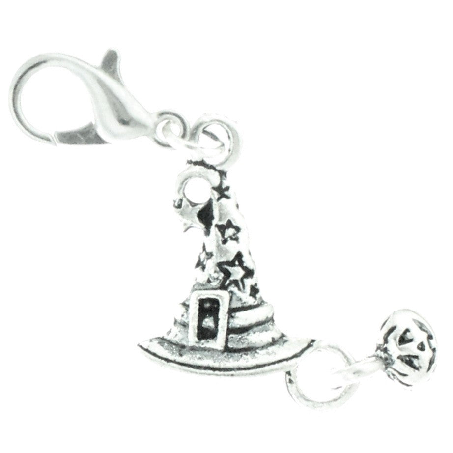 AVBeads Clip-On Charms Witch Hat Charm 40mm x 15mm Silver JWLCC28920