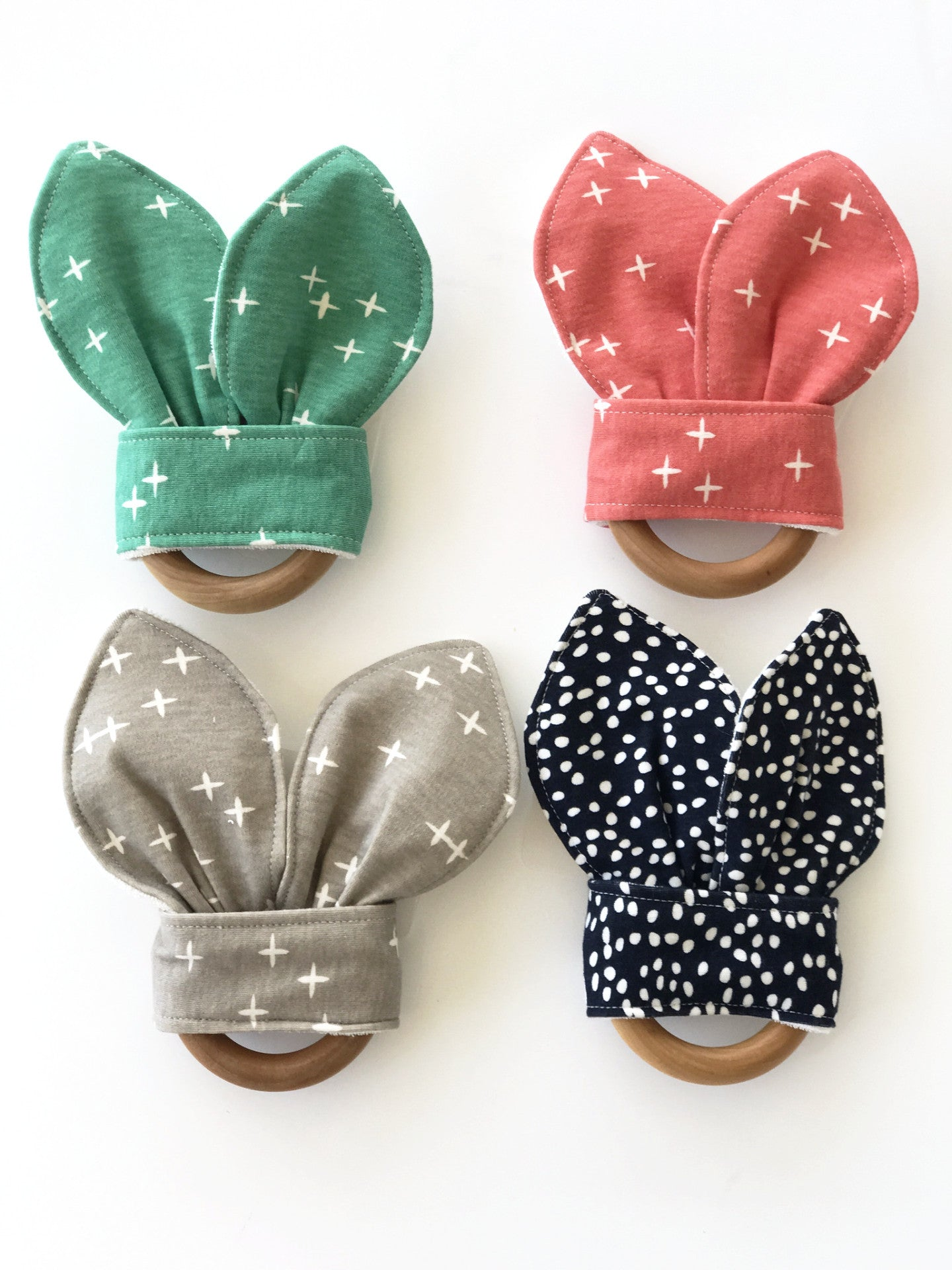 Organic cotton wooden teethers